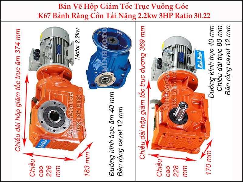 motor giảm tốc 2.2kw 3hp ratio 30.22 trục vuông góc bánh răng côn tải nặng K