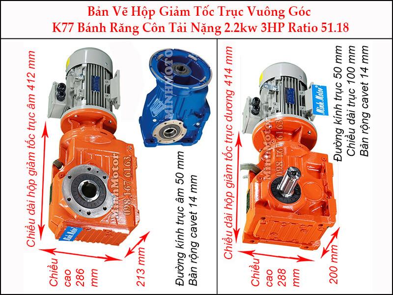motor giảm tốc 2.2kw 3hp ratio 51.18 trục vuông góc bánh răng côn tải nặng K