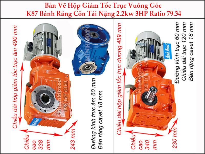 motor giảm tốc 2.2kw 3hp ratio 79.34 trục vuông góc bánh răng côn tải nặng K