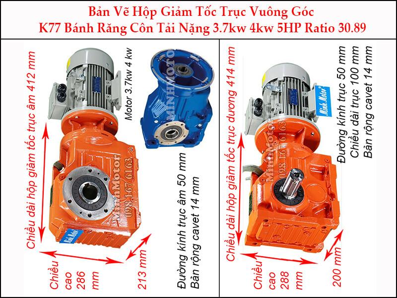 motor giảm tốc 3.7kw 5hp ratio 30.89 trục vuông góc bánh răng côn tải nặng K