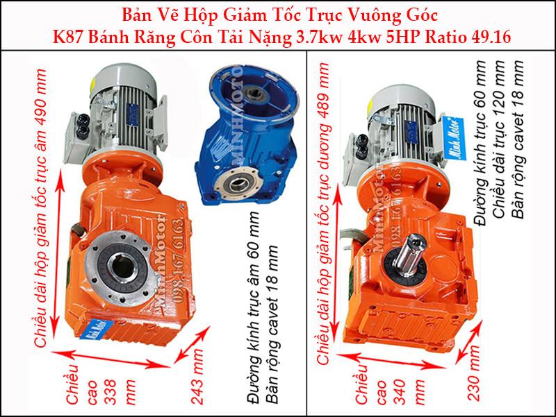 motor giảm tốc 3.7kw 5hp ratio 49.16 trục vuông góc bánh răng côn tải nặng K