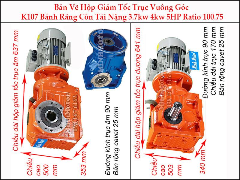 motor giảm tốc 4kw 5.5hp ratio 100.75 trục vuông góc bánh răng côn tải nặng K