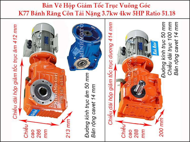 motor giảm tốc 4kw 5.5hp ratio 51.18 trục vuông góc bánh răng côn tải nặng K