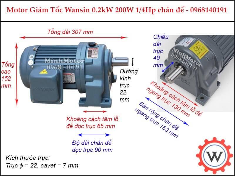 motor giảm tốc wansin 0.25Hp 200W 0.2kw chân đế