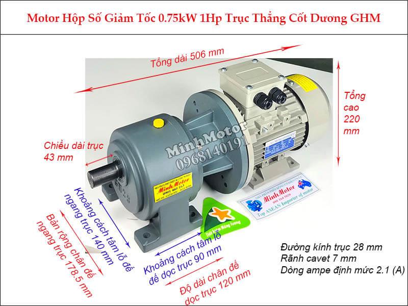 Motor hộp số wansin 1Hp 0.75Kw trục trẳng cốt dương GHM