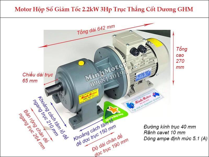 Motor hộp số wansin 3Hp 2.2Kw trục trẳng cốt dương GHM