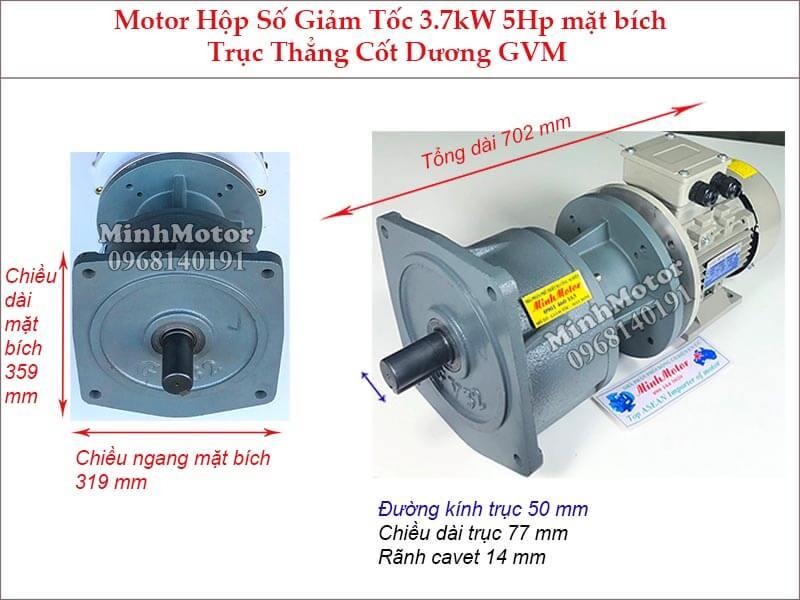 Motor hộp số wansin 5Hp 3.7Kw trục trẳng cốt dương GVM
