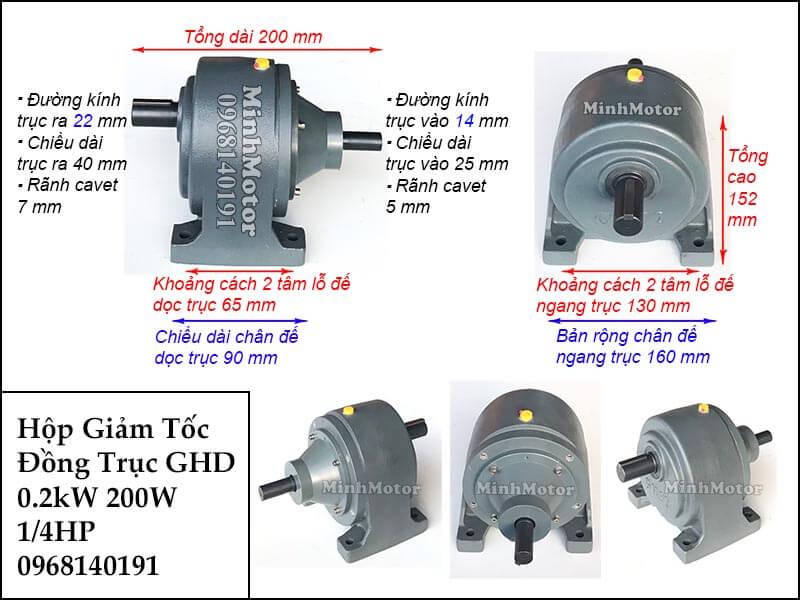 Hộp giảm tốc wansin 0.25Hp 200W 0.2Kw đồng trục cốt dương GHD