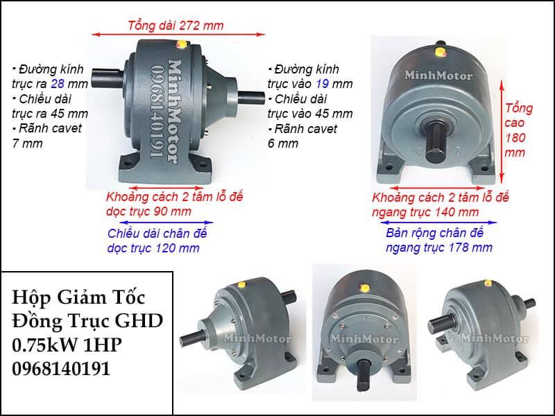 Hộp giảm tốc wansin 1Hp 0.75Kw đồng trục cốt dương GHD