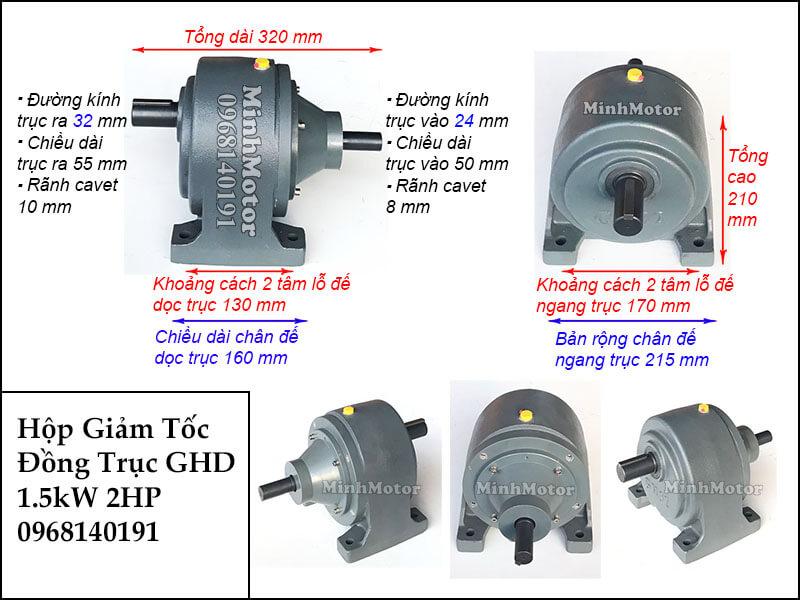 Hộp giảm tốc wansin 2hp 1.5kw đồng trục cốt dương GHD