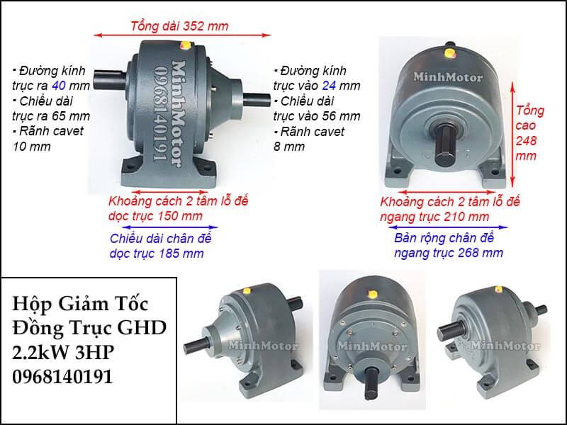 Hộp giảm tốc wansin 3Hp 2.2Kw đồng trục cốt dương GHD