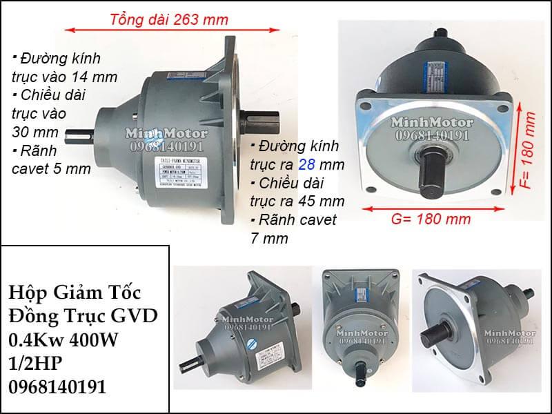 Hộp số giảm tốc wansin 400W 0.4kw 0.5hp GVD