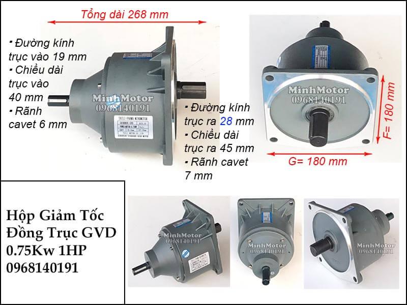 Hộp giảm tốc wansin 1Hp 0.75Kw GVD