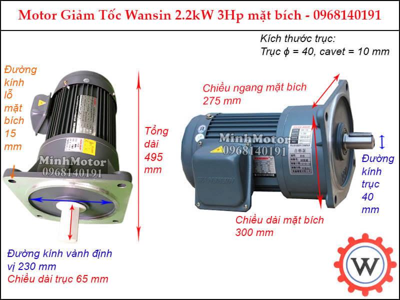 động cơ giảm tốc wansin 3Hp 2.2Kw mặt bích
