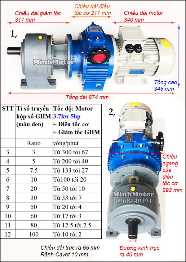 Động cơ hộp số wansin 5Hp 3.7Kw thay đổi tốc độ GHM