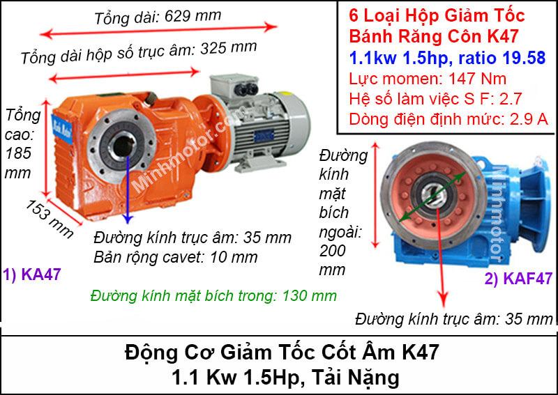 Động cơ giảm tốc cốt âm 1Kw 1.5Hp KA47 tải nặng