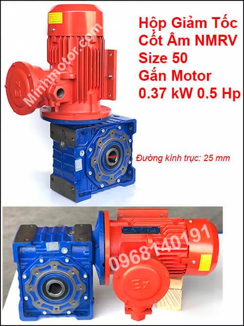 Hộp giảm tốc NMRV size 50 gắn motor phòng nổ 0.37Kw 0.5Hp