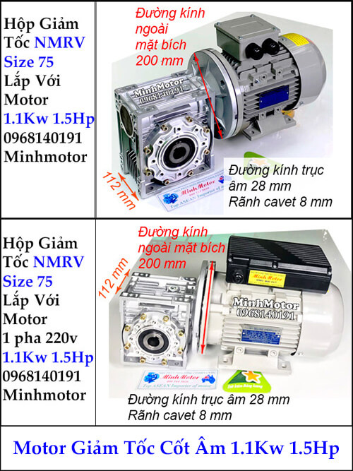 Motor hộp giảm tốc cốt âm 1Kw 1.5Hp RV size 75