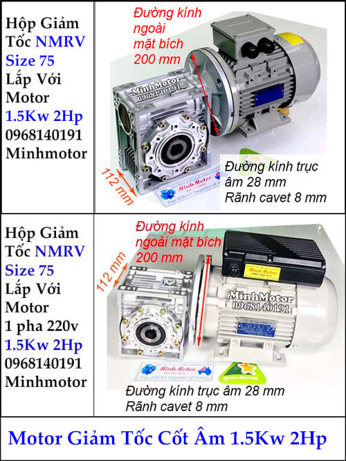 Motor hộp giảm tốc cốt âm 5Kw 2Hp RV size 75