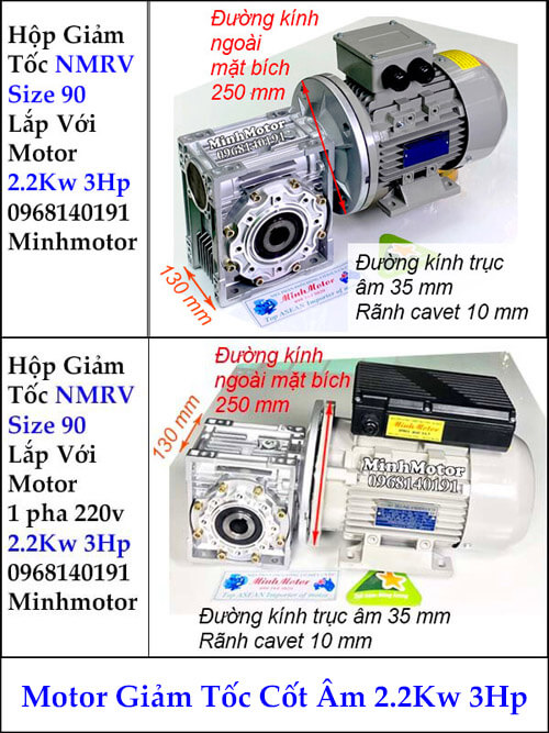 Motor hộp giảm tốc cốt âm 2Kw 3Hp RV size 90
