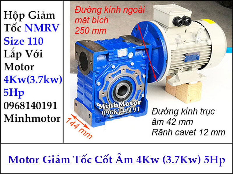 Motor hộp giảm tốc cốt âm 3.7Kw 4Kw 5Hp RV size 110