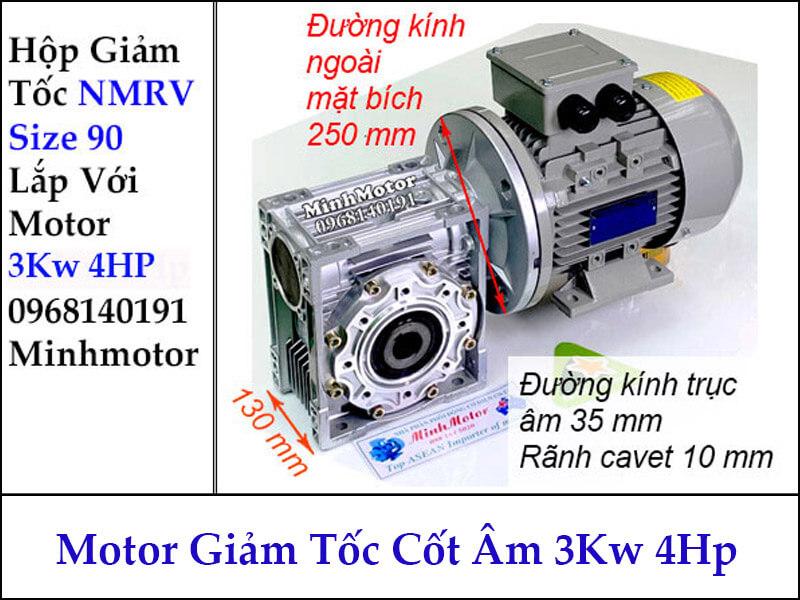 Motor hộp giảm tốc cốt âm 3Kw 4Hp RV size 90