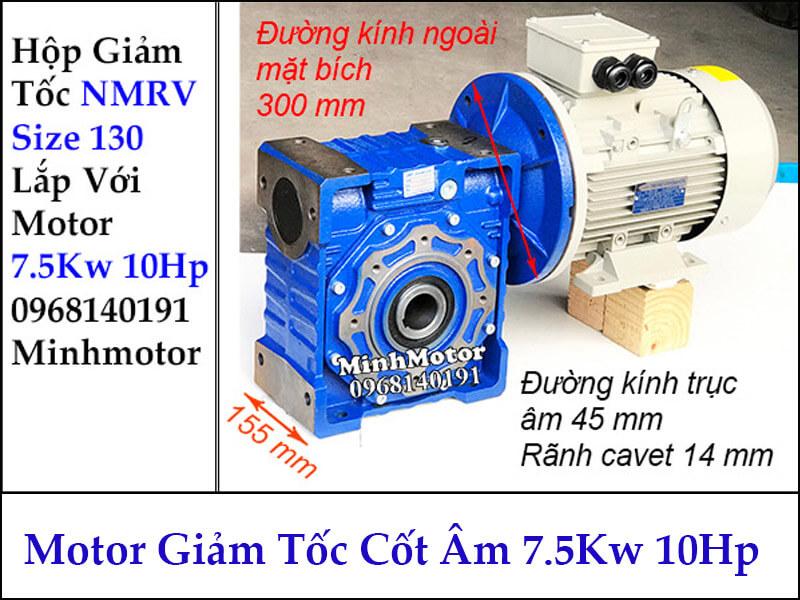 Motor hộp giảm tốc cốt âm 5Kw 10Hp RV size 130