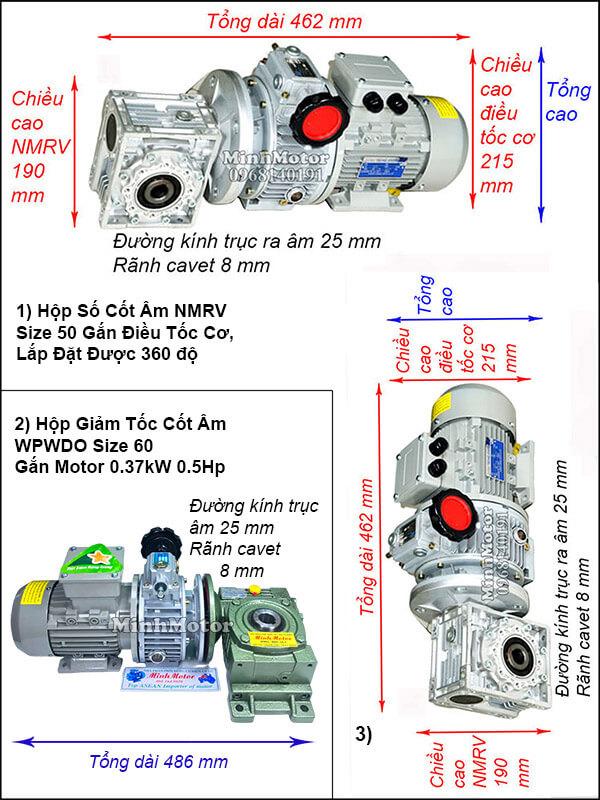 Động cơ hộp số cốt âm 37Kw 0.4Kw 0.5Hp điều chỉnh tốc độ UDL, trục úp, ngửa size 60