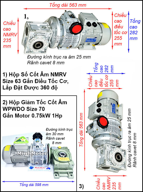 Động cơ hộp số cốt âm 0.75Kw 1Hp điều chỉnh tốc độ UDL, trục úp, ngửa