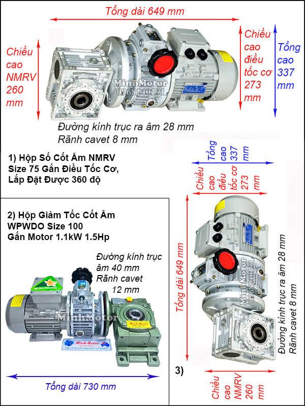 Motor hộp số cốt âm 1.1Kw 1.5Hp điều chỉnh tốc độ UDL, trục úp, ngửa size 100
