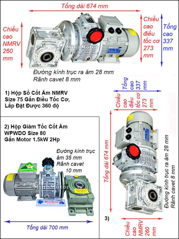 Động cơ hộp số cốt âm 1.5Kw 2Hp điều chỉnh tốc độ UDL, trục úp, ngửa size 80