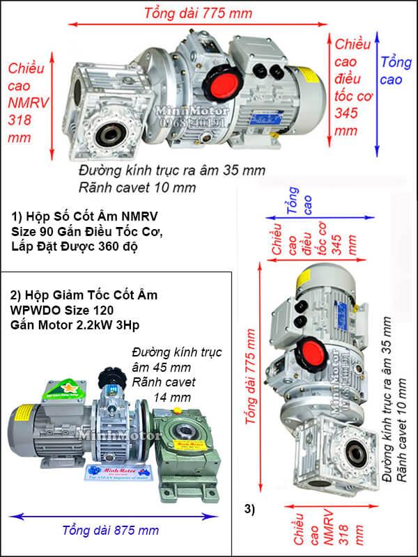 Động cơ hộp số cốt âm 2.2Kw 3Hp điều chỉnh tốc độ UDL, trục úp, ngửa size 120