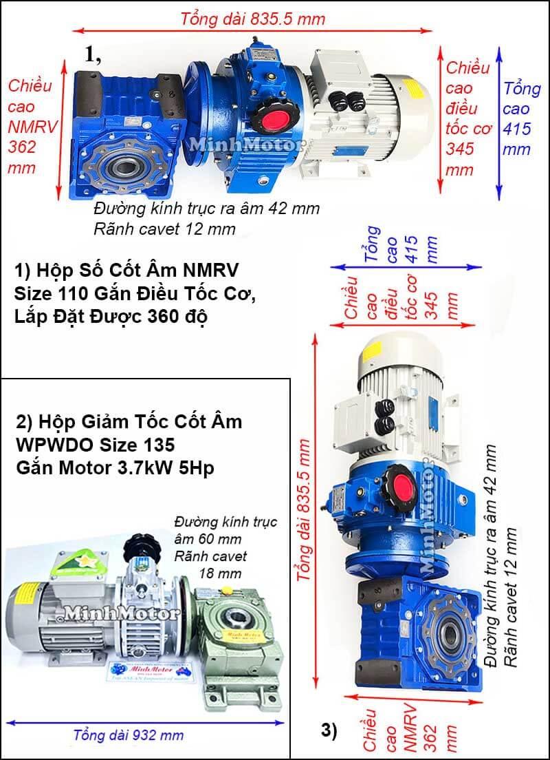 Động cơ hộp số cốt âm 3.7Kw 4Kw 5Hp điều chỉnh tốc độ UDL, trục úp, ngửa size 135