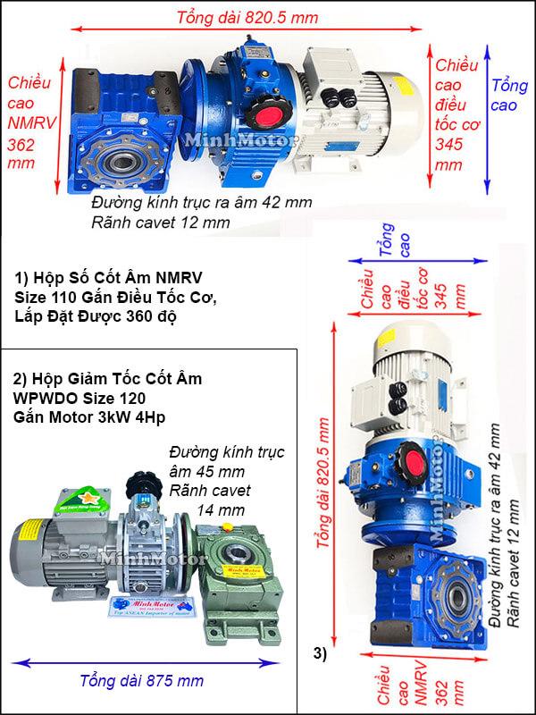 Động cơ hộp số cốt âm 3Kw 4Hp điều chỉnh tốc độ UDL, trục úp, ngửa NMRV size 110