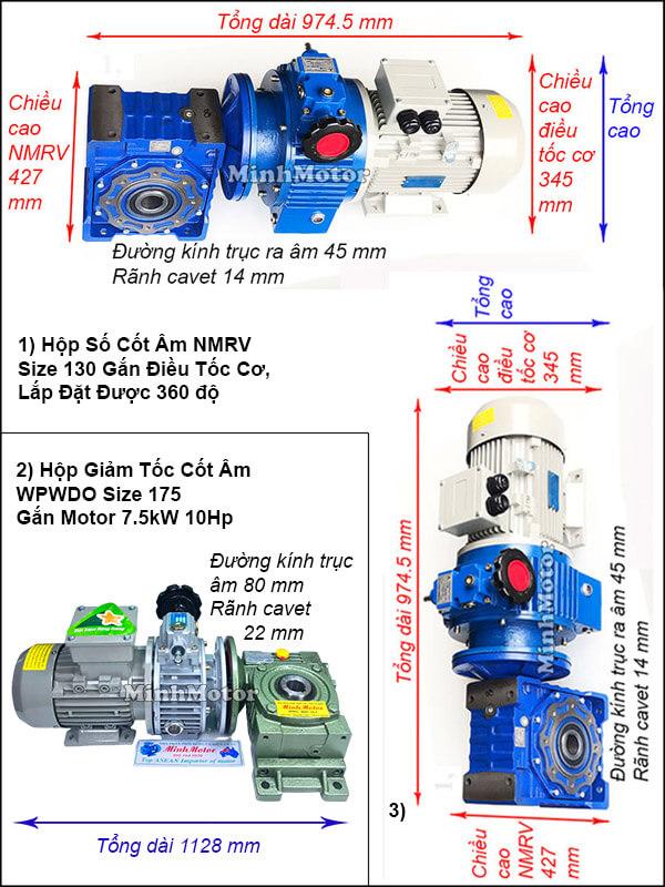 Động cơ hộp số cốt âm 7.5Kw 10Hp điều chỉnh tốc độ UDL, trục úp, ngửa size 175