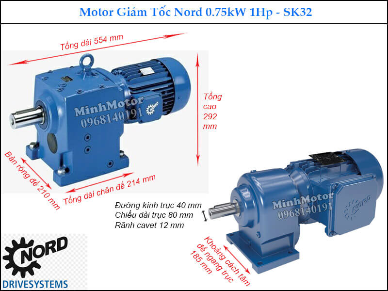 Hộp giảm tốc Nord SK32 0.75Kw 1Hp