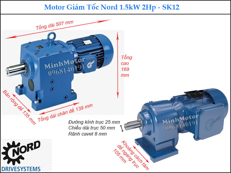 Motor giảm tốc Nord 1.5Kw 2Hp SK12