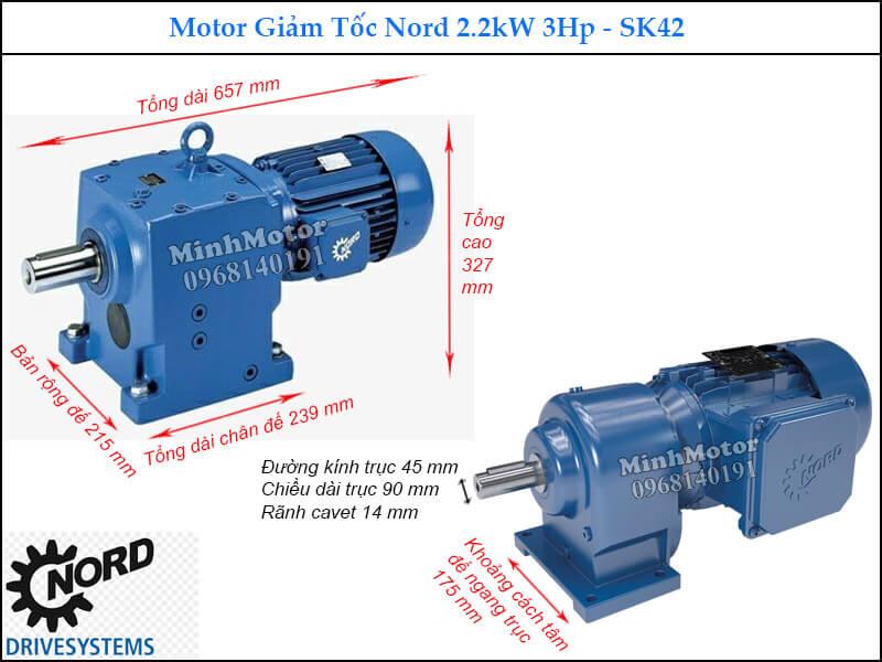 Motor Nord giảm tốc 2.2Kw 3Hp SK42