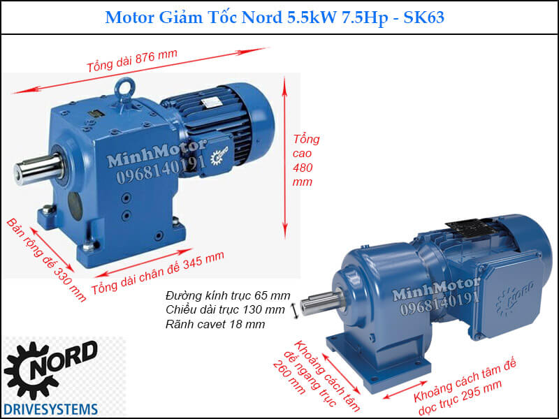 Motor hộp số Nord 5.5Kw 7.5Hp SK63