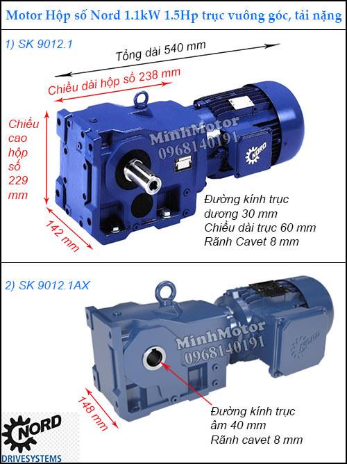 Motor hộp số 1.1Kw 1.5Hp SK9012.1 SK9012.1AX