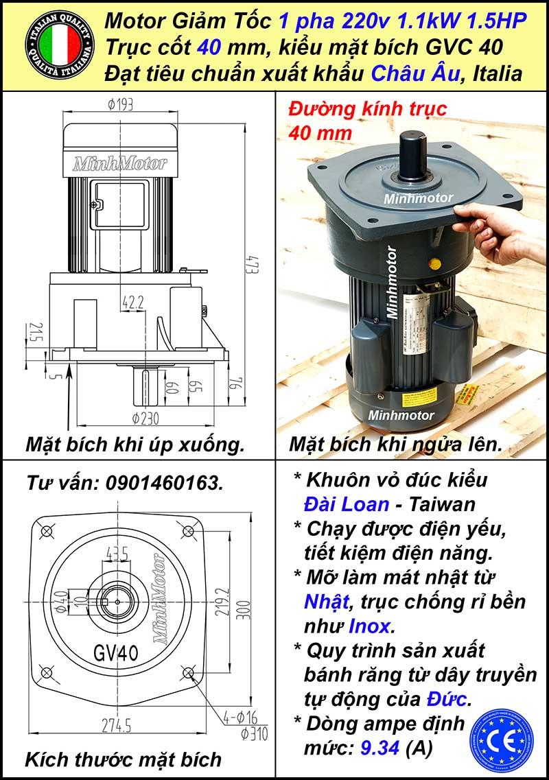 Bản vẽ kỹ thuật động cơ giảm tốc 220v 1.5hp 1.1kw 1 pha mặt bích, trục 40
