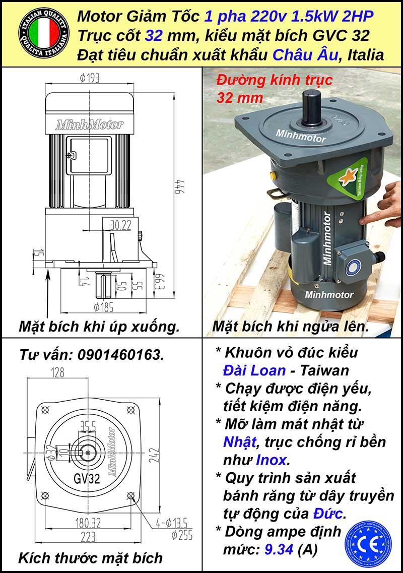 Tư liệu kĩ thuật động cơ giảm tốc 220v 2hp 1.5kw 1 pha mặt bích, trục 32
