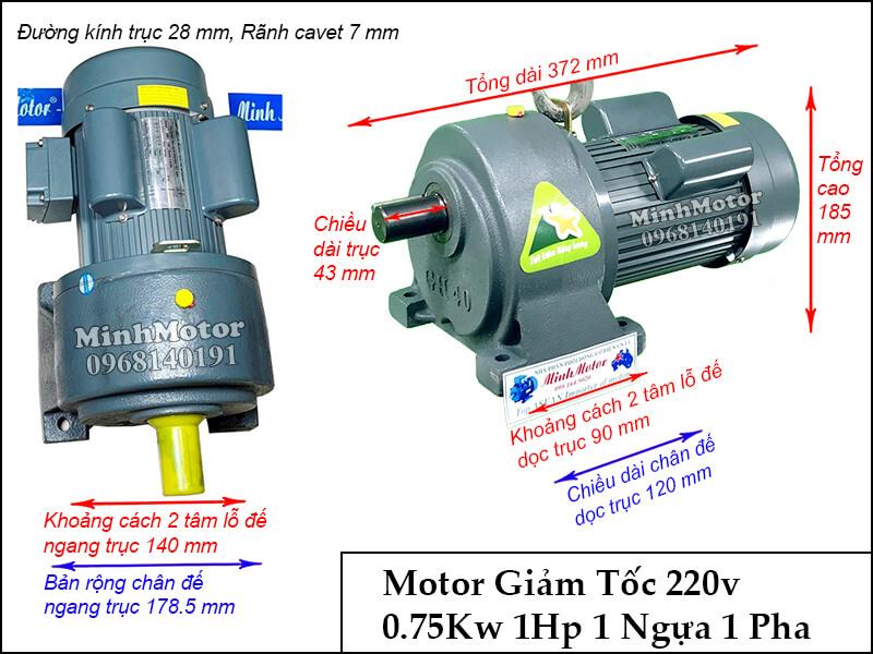 Thiết kế lắp đặt động cơ giảm tốc 1 pha 220v 1hp 0.75kw trục 28 chân đế