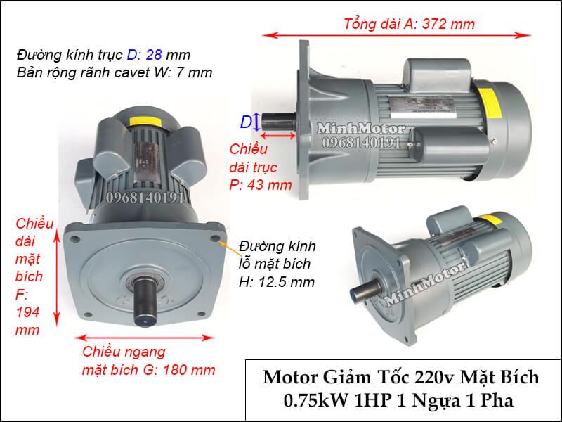 Thiết kế lắp đặt động cơ giảm tốc 1 pha 220v 1hp 0.75kw trục 28 chân đế, mặt bích