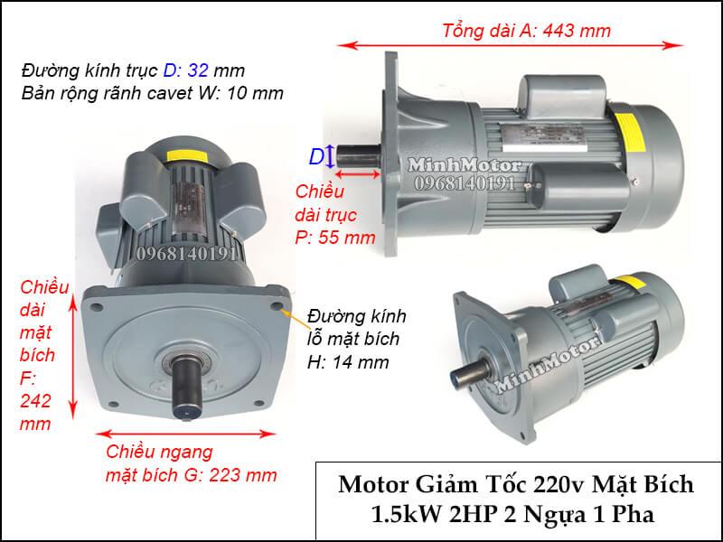 Thiết kế lắp đặt động cơ giảm tốc 1 pha 220v 2hp 1.5kw trục 32 chân đế, mặt bích