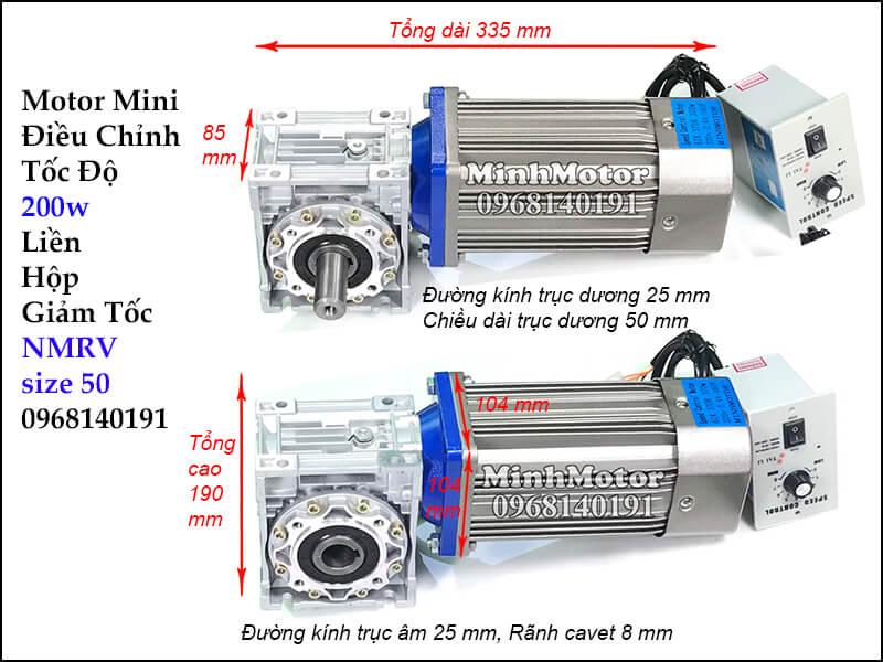 Motor mini điều chỉnh tốc độ 200w gắn hộp số NMRV size 50