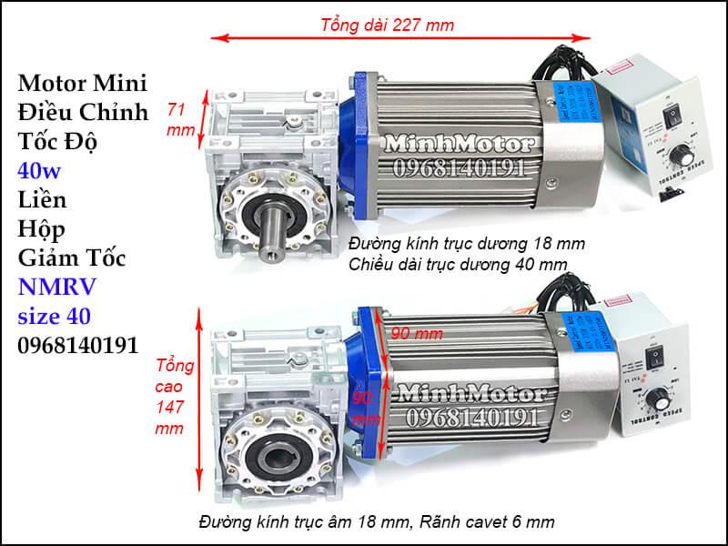 Motor mini điều chỉnh tốc độ 40w gắn hộp số NMRV size 40