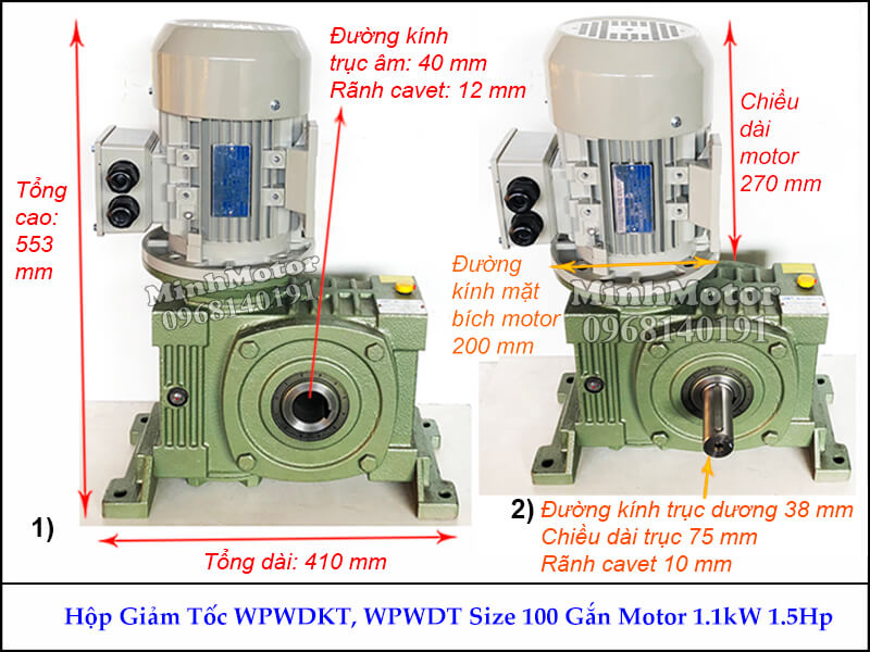 Hộp số giảm tốc cốt âm 1.1Kw 1.5Hp WPWDKT, trục ngang size 100