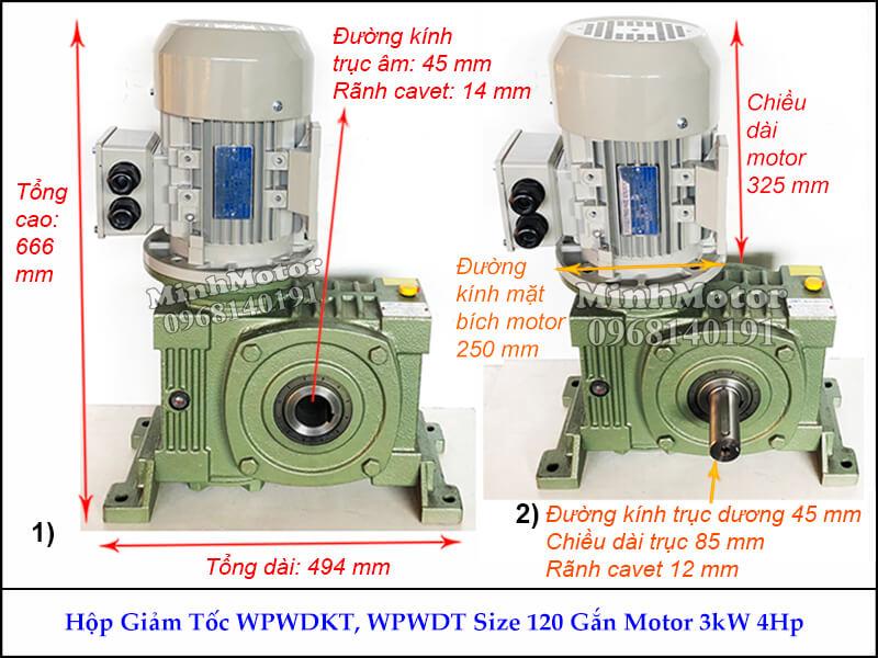 Hộp số giảm tốc cốt âm 3Kw 4Hp WPWDKT, trục ngang size 120