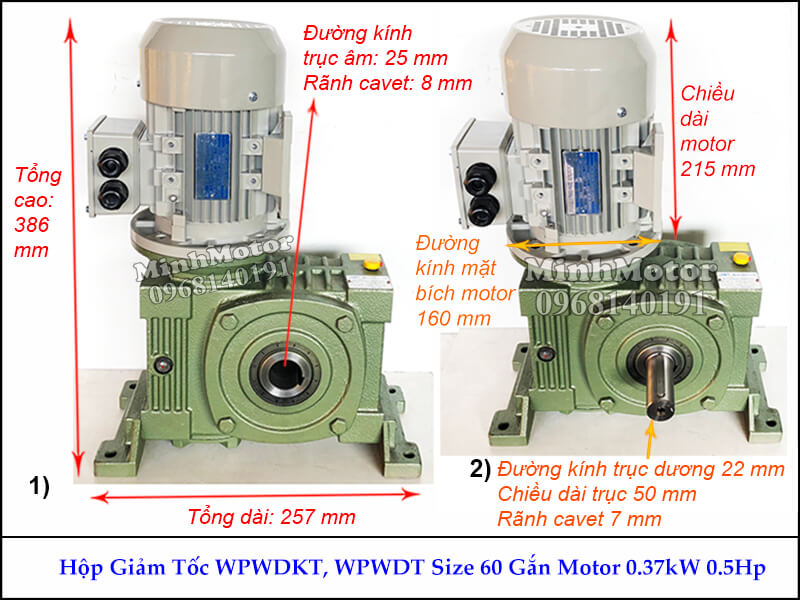 Hộp số giảm tốc cốt âm 37Kw 0.4Kw 0.5Hp WPWDKT, trục ngang size 60